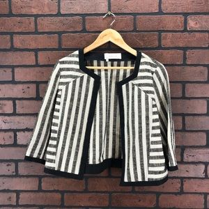 10 CROSBY DEREK LAM Striped Linen Jacket Size 10